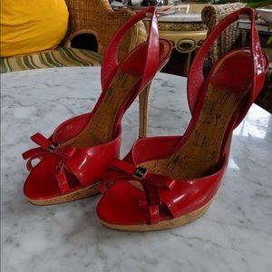 Christian Dior | Starlet Slingback Cork Red Heels